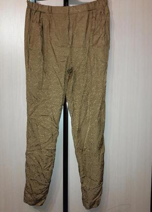 Massimo dutti.премиум.р евр 40.оригинал.шелк.легчайшие брюки с отворотами.на цен 65 евро