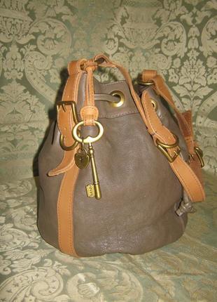 Fossil оригинал объемная кожаная сумка торба 100% натуральная кожа