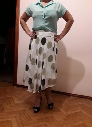 Шифоновая юбка в горох ассиметрия