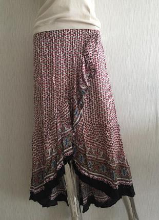 Длинная юбка с воланами на запах pink diamond