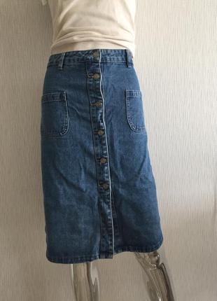 Джинсовая юбка на пуговицах с карманами papaya
