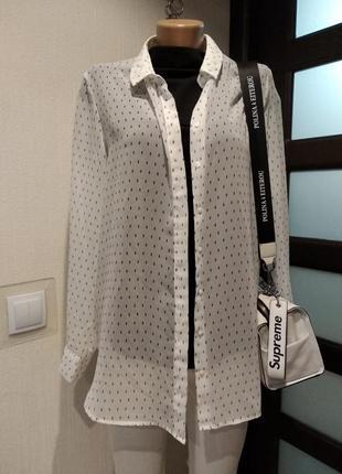 Тончайшая полупрозрачная блузка рубашка кофта оверсайз