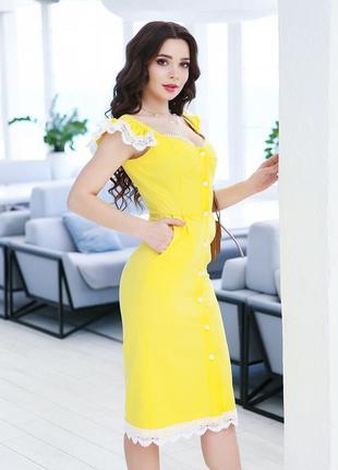 Желтый льняной сарафан с кружевом