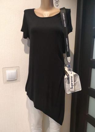 Крутая асимметричная футболка блузка рубашка черная