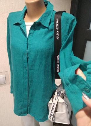 100% лен стильная брэндовая бирюзовая блузка рубашка кофта оверсайз