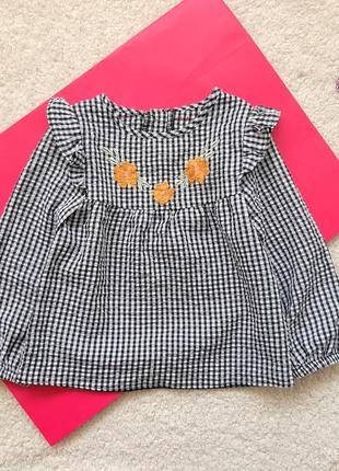 Блузка рубашка туника nutmeg для девочки 2-3 года рост 92-98см
