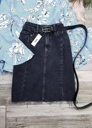 Графитовая джинсовая юбка