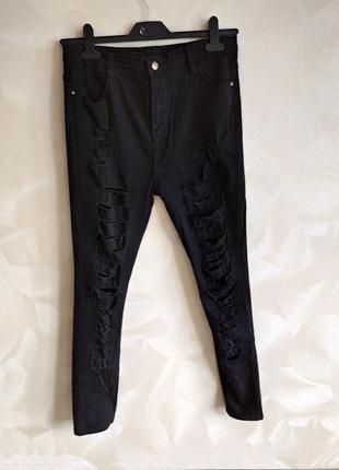 Стильные черные рваные джинсы,штаны высокая посадка