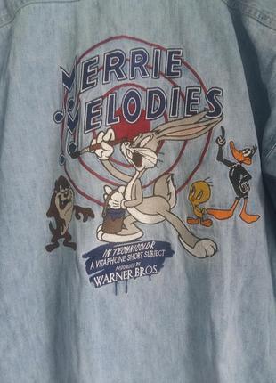 Джинсовая рубашка оверсайз wornerbrаthers мультяшный принт