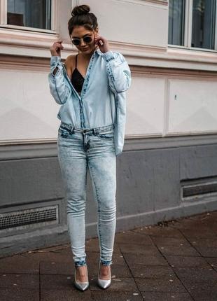 Дизайнерская джинсовая рубашка , esmara от heidi clum , германия5 фото