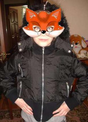 134-140-146 см куртка черная балоневая деми на 8-9-10 лет на синтепоне весенняя