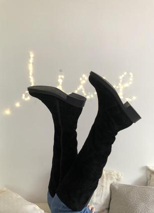 Чорні зимові високі чоботи з замші