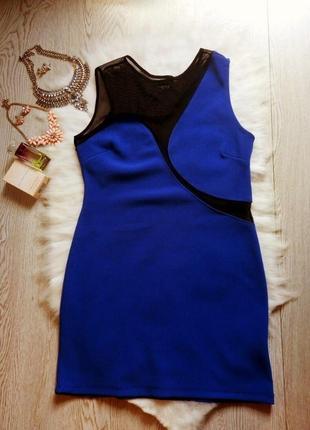 Синее короткое секси платье с черной сеткой короткое глубокое декольте вырезы дизайнерское