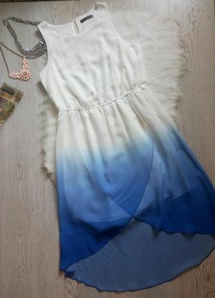 Асимметричное цветное белое синее голубое платье с градиентом переход цвета шифон