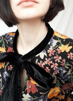 Красивая блуза рубашка с бархатным бантом3 фото