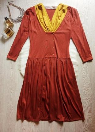 Цветное платье миди длинное светлого коричневого цвета с желтым воротником винтаж стиляги