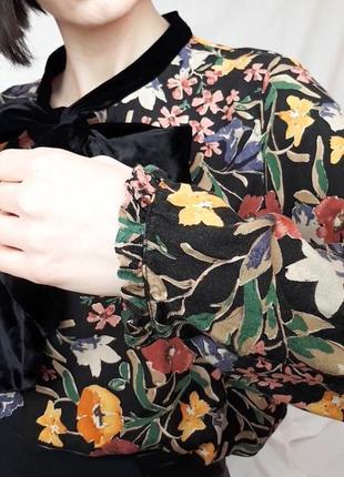Красивая блуза рубашка с бархатным бантом4 фото