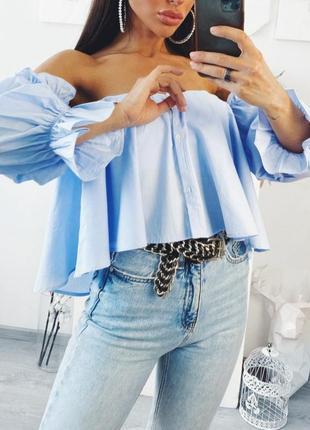 Шикарная хлопковая рубашка, блуза свободного кроя от zara