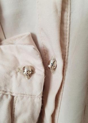 Брендовая нюдовая вискозная рубашка блуза zara черепа шипы