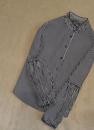 Рубашка в полоску красивый объёмный длинный рукав размер 10 primark