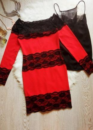 Нарядное красное платье короткое миди с черным гипюром ажурными вставками открытыми