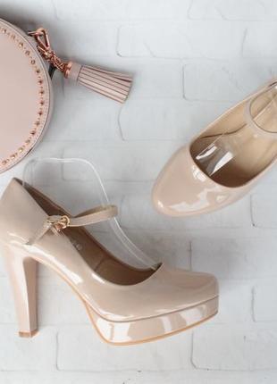 Нюдовые, бежевые туфли 40 размера на устойчивом каблуке