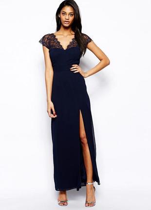 Платье вечернее макси с высоким разрезом elise ryan размер 6/8