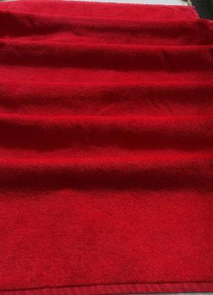 Красное махровое полотенце для лица от bathrose made turkey