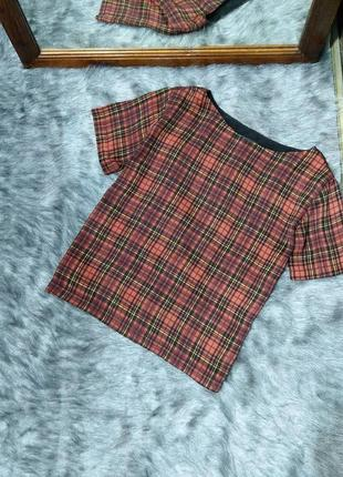 Sale блуза кофточка топ прямого кроя в клетку topshop