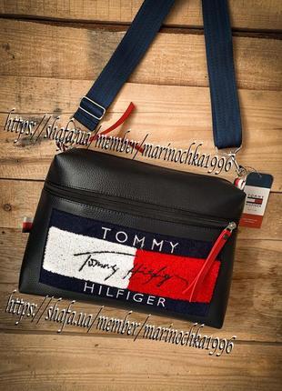 😍новая стильная качественная сумка tommy pu кожа + цвета❤️💙🖤🤍 / кроссбоди / клатч