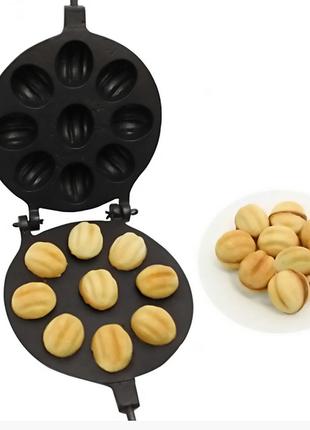 Орешница форма для выпечки крупных орешков (9 половинок больших орехов) с тефлоновым