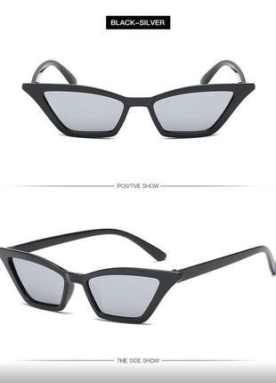 Sale! распродажа! черные глянцевые трендовые узкие очки линзы серебристый металлик лисички