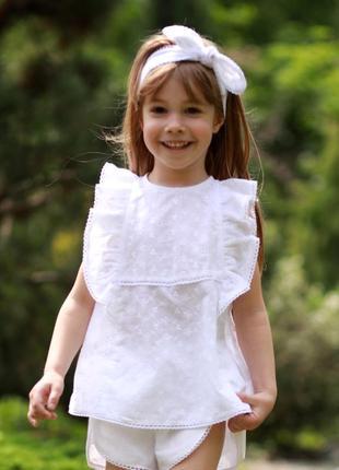 Белая блуза для девочки, школьная блузка батист, кружевной топ на девочку