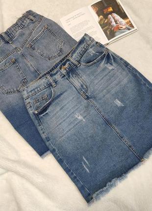Юбка джинсовая с потёртостями
