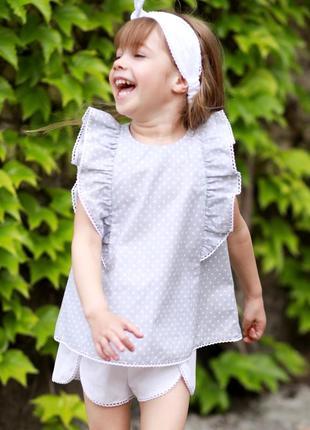 Тренд 2020, стильная блузка для девочки, школьная блуза в горох, блуза с рюшками