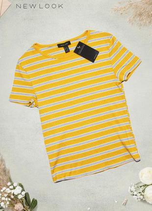 Новая оранжевая футболка в полоску new look