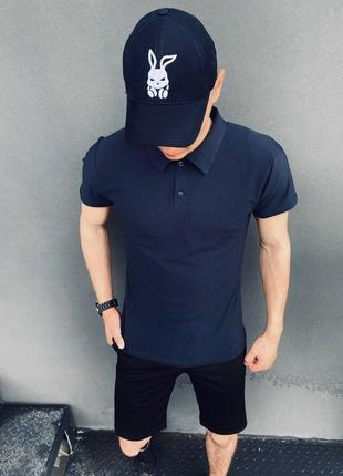 Подарок!!костюм intruder lacosta летний сине-черный. мужская футболка поло+шорты+кепка
