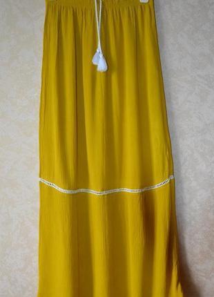 Primark длинная юбка макси горчичного цвета р.46-48 (40/12)вискоза 100%, с бирками