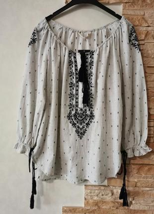 Блузка-вышиванка, блуза из тонкого хлопка с вышивкой