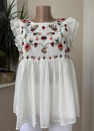 Блуза разлетайка с вышивкой