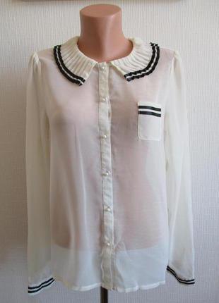 Распродажа! шифоновая блузка с воротником плиссе internacionale