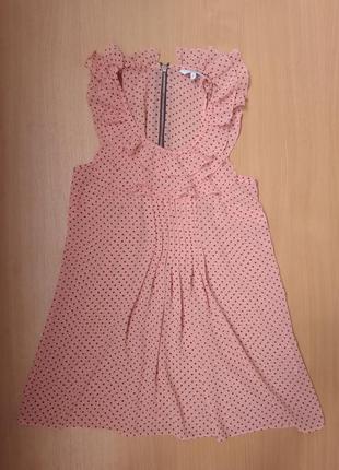Блуза акция распродажа блузка шифоновая розовая в чёрный горох с рюшами new look 34 р.