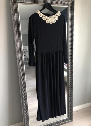 Mogga _вечірня довга сукня з красивою спинкою та обшитим коміром
