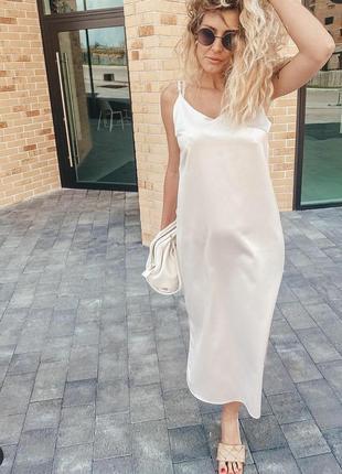 Платье атлас бельевой стиль модное трендовое миди