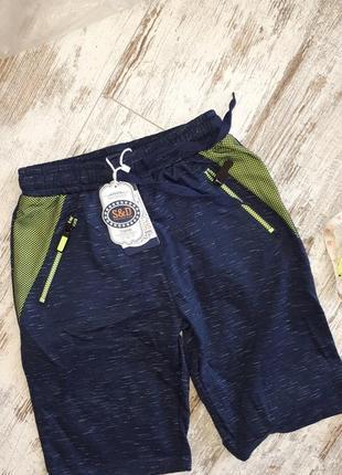 Стильные шорты темно синие. карманы на молниях плотный трикотаж