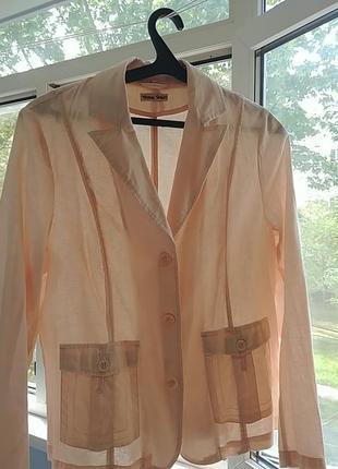 Льняной пиджак блейзер жакет натуральный лен - хлопок на 48-50-52