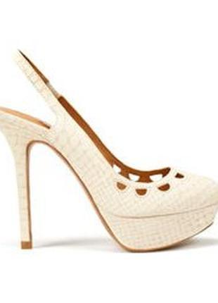 🌿нюдовые босоножки на устойчивом каблуке zara туфли с открытой пяткой
