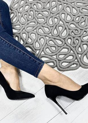 Черные туфли, лодочки 36, 37, 38, 39, 40 размера на шпильке, каблуке