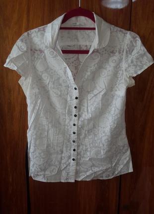 Блуза рубашка oodji белая с поясом