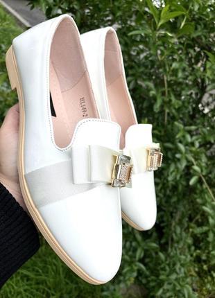 Лакированые балетки на каблуке,  эко кожа